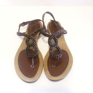 Brown leather and bronze tone beaded sandals